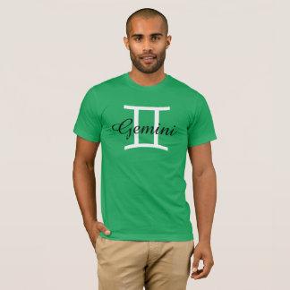 Gemini Zodiac Horoscope Sign Mens Green T-Shirt