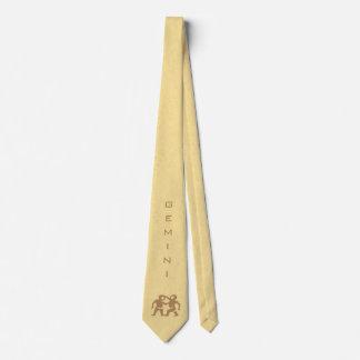 Gemini Zodiac Sign and Name Yellow Tie