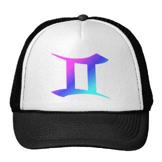 Gemini Zodiac Sign Aqua Pink Blue Gradient Trucker Hat