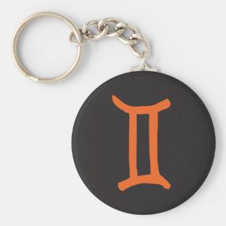 Gemini Zodiac Sign. Basic Round Button Key Ring
