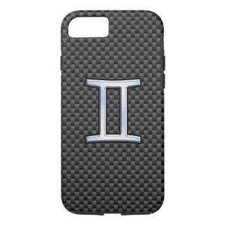 Gemini Zodiac Sign on Charcoal Carbon Fiber Print iPhone 7 Case