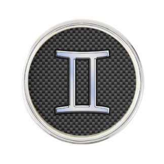 Gemini Zodiac Sign on Charcoal Carbon Fiber Print Lapel Pin