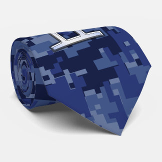 Gemini Zodiac Sign on Navy Blue Digital Camo Tie