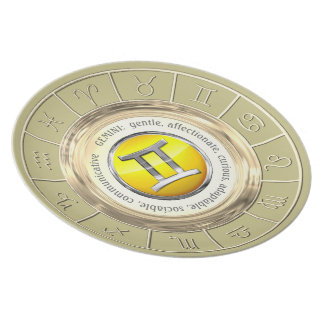 Gemini Zodiac Sign Traits Plate