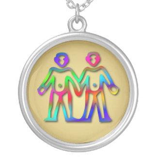 Gemini Zodiac Star Sign Color Line Personalized Necklace