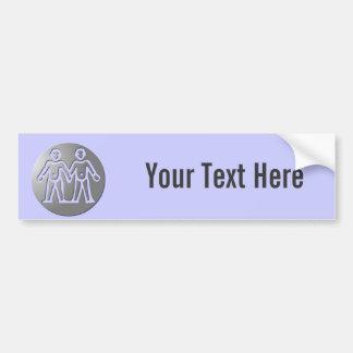 Gemini Zodiac Star Sign Premium Silver Bumper Stickers