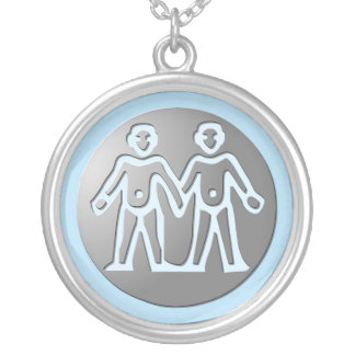 Gemini Zodiac Star Sign Premium Silver Custom Necklace