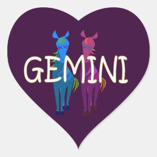 Gemini zodiac heart sticker