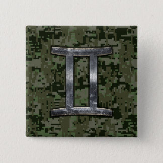 Gemini Zodiac Symbol on Green Digital Camouflage 15 Cm Square Badge