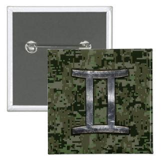 Gemini Zodiac Symbol on Green Digital Camouflage 15 Cm Square Badge