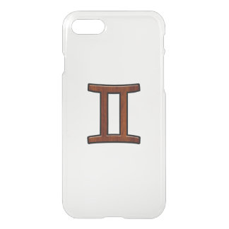 Gemini Zodiac Symbol on Mahogany like Decor iPhone 7 Case