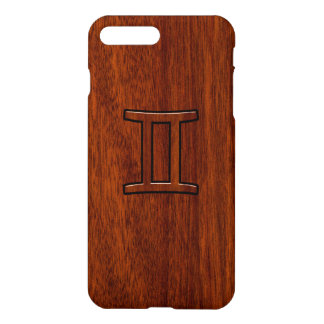 Gemini Zodiac Symbol on Mahogany like Decor iPhone 7 Plus Case