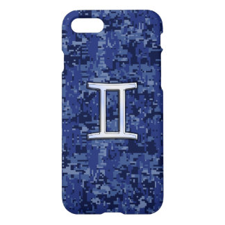 Gemini Zodiac Symbol on Navy Blue Camo iPhone 7 Case