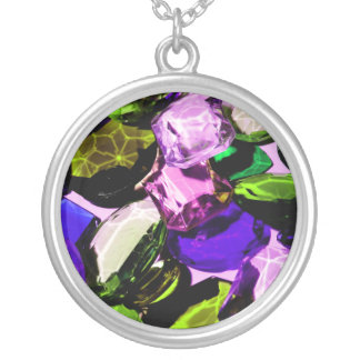 gemstone abstract silver plated necklace