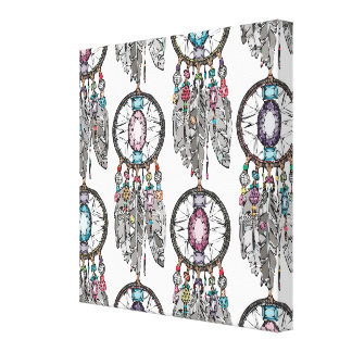 gemstone dreamcatcher canvas print