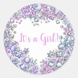Gemstone Girl Baby Shower Sticker | Customizable