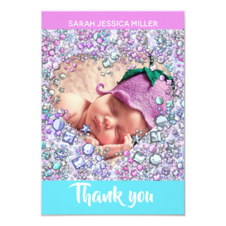Gemstone Girl Baby Shower THANK YOU | Photo & Text Card
