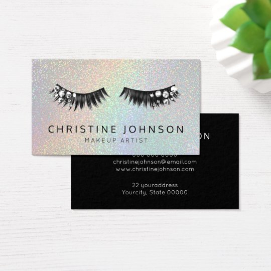 gemstone glam eyelashes makeup artist business card