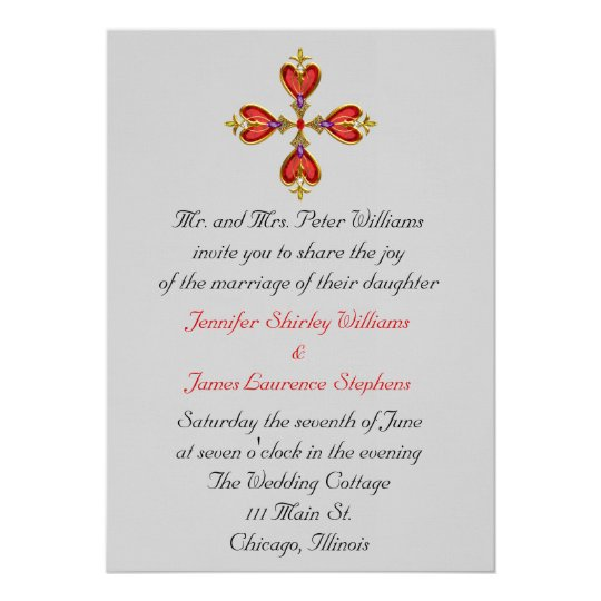 Gemstone Heart Cross Wedding Invitation