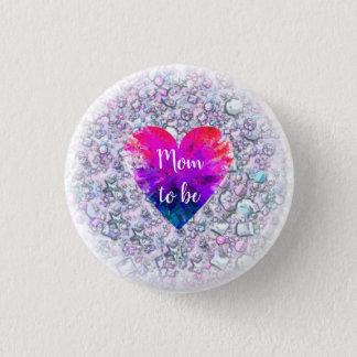 Gemstone Pink Heart | Mom to be |Baby shower 3 Cm Round Badge