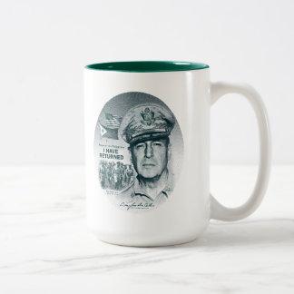 Gen. MacArthur I Have Returned (Bluegreen Print) Two-Tone Coffee Mug