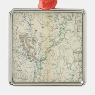 Gen map XIX Silver-Colored Square Decoration