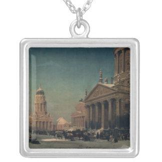 Gendarmenmarkt in Winter, 1857 Silver Plated Necklace