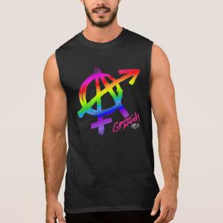 Gender Anarchy (front print) Rainbow sign on dark Sleeveless Shirt