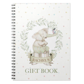 Gender Neutral Baby Elephant Green Beige Notebooks