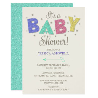 Gender Neutral Baby Glitter Stars Pink Green Gold Card
