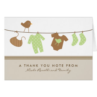 Gender Neutral Baby Laundry Thank You Card (brown)