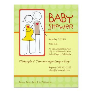 "Gender Neutral Baby Shower 4.25"" X 5.5"" Invitation Card"