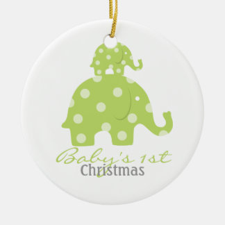 Gender neutral baby's first christmas - elephants christmas ornament