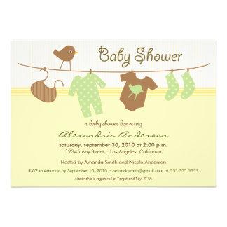 Gender Neutral Clothesline Baby Shower Invitation