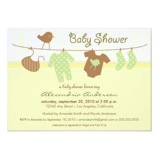 "Gender Neutral Clothesline Baby Shower Invitation 5"" X 7"" Invitation Card"