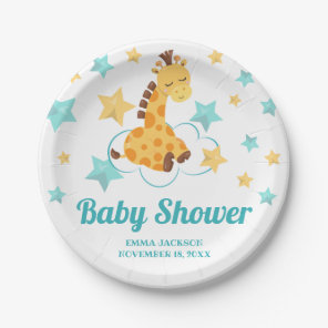 Gender Neutral Cute Giraffe & Stars Baby Shower Paper Plate