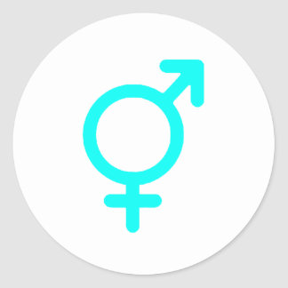 Gender Neutral Cyan The MUSEUM Zazzle Gifts Round Sticker