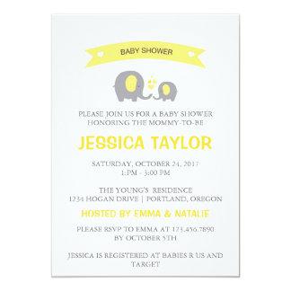 Gender Neutral Elephant Yellow Baby Shower Invite