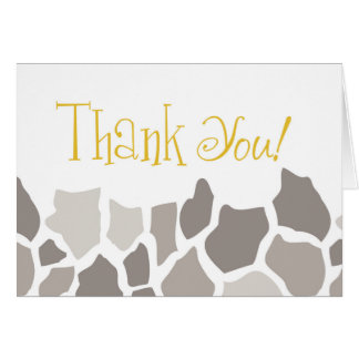 Gender Neutral Giraffe Safari Thank You Card