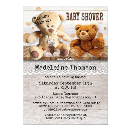 Gender Neutral or Twin Bear Baby Shower Invitation