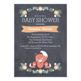 Gender Neutral Twin Fox Baby Shower Invitation