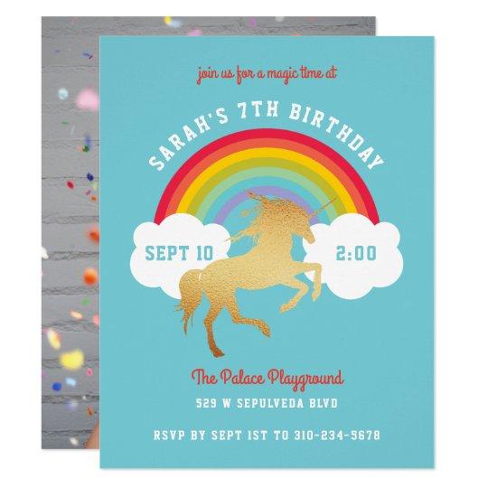 Gender Neutral Unicorn Rainbow Birthday Party Card