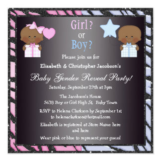 "Gender Reveal African American Babies & Balloons 5.25"" Square Invitation Card"