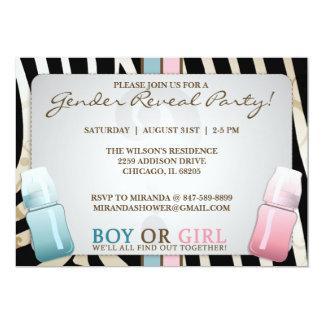 "Gender Reveal Baby Bottle Boy or Girl  Invitations 5"" X 7"" Invitation Card"