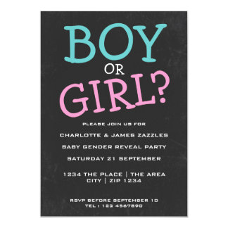 Gender Reveal Baby Chalkboard Party 13 Cm X 18 Cm Invitation Card