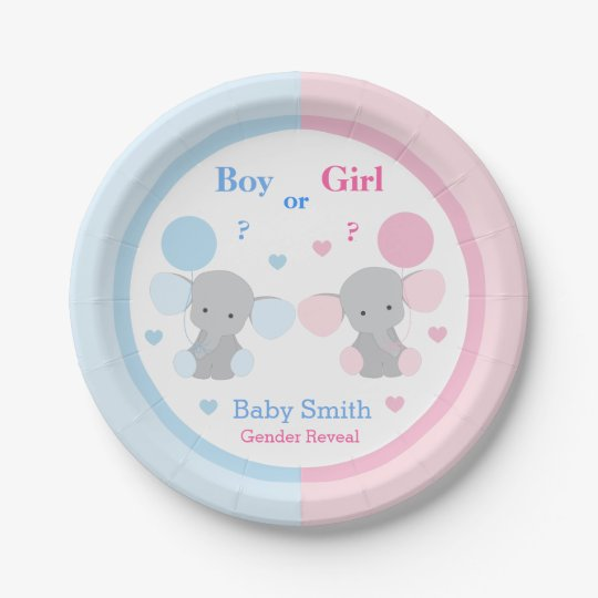 Gender Reveal Baby Shower Elephant Sprinkle Party Paper