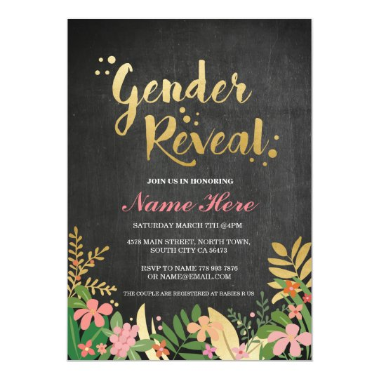 Gender Reveal Baby Shower Invite Gold Floral Black