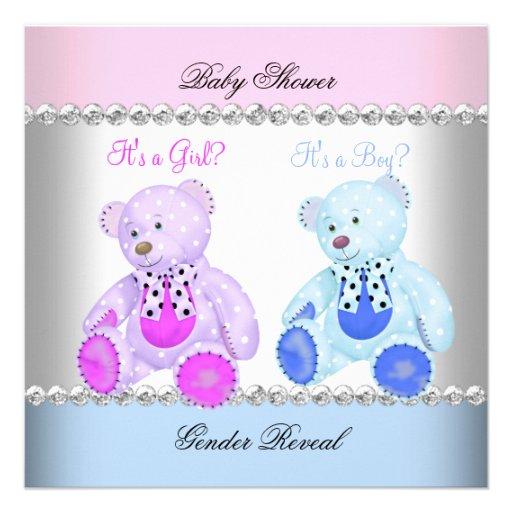 Gender Reveal Baby Shower Pink Blue Teddy Bears Custom Announcement