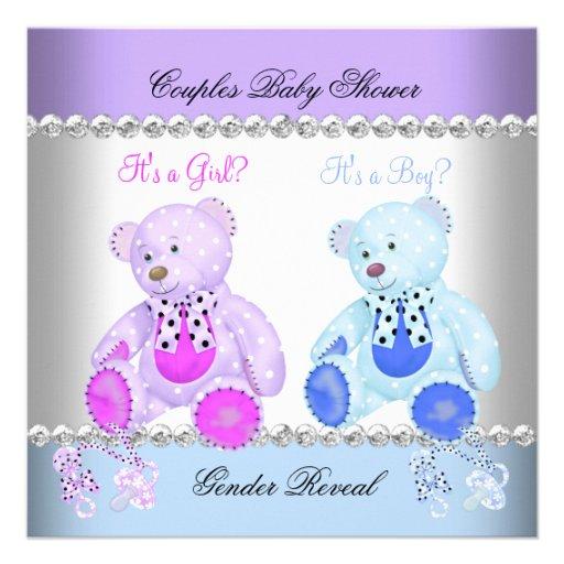 Gender Reveal Baby Shower Purple Blue Teddy Bears Announcement