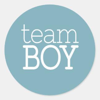 Gender Reveal Baby Shower - Team Blue Boy Round Sticker